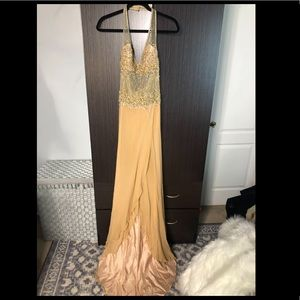 Beautiful Nude and gold formal dress